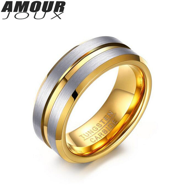 amourjoux 2017 fashion matte dual line white gold color band tungsten wedding rings for men fashion - Sports Wedding Rings