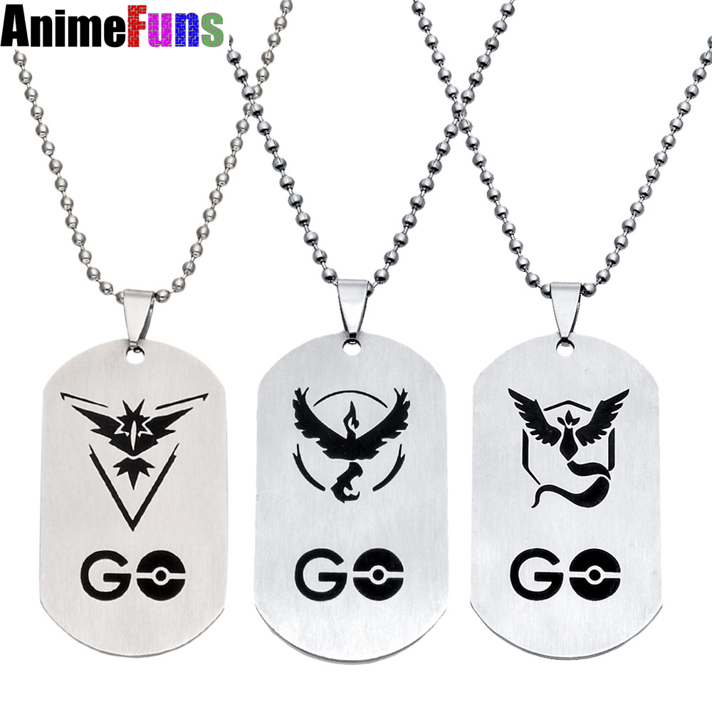 10pcs/lot Game Jewelry Pendants Pokemon Jewelry Pokemon Go Logo Stainless Steel Necklace For Men Gifts