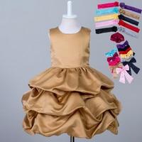 Mais recente Crianças Fantasia Curto Puffy Crianças Vestido De Casamento Formal Designer Ouro Roxo Vestidos Menina com Faixa do Concurso