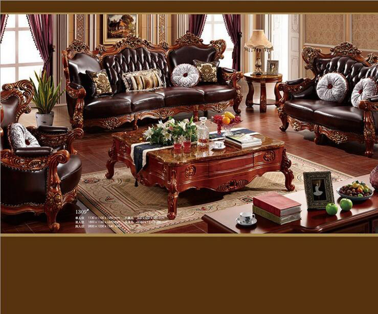 high quality  European  antique living room sofa furniture genuine leather set d1423|furniture cup|furniture storage|furniture sectionals - title=