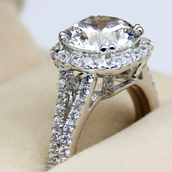 luxury center 3 carat simulated diamond halo female ring 9k white - Female Wedding Rings