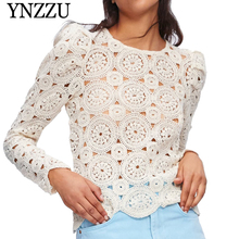 YNZZU 2019 New arrival O-neck beige women lace tops Hollow out sexy slim ladies shirt Long sleeve solid chic female blouse YT638 chic women s hollow out long sleeve blouse