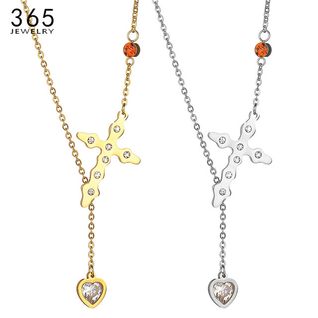 Fashion Stainless Steel Gold Colour Heart Necklace Trendy Women CZ Stone  Cross Pendant Necklace Party Jewelry 056feda306c5