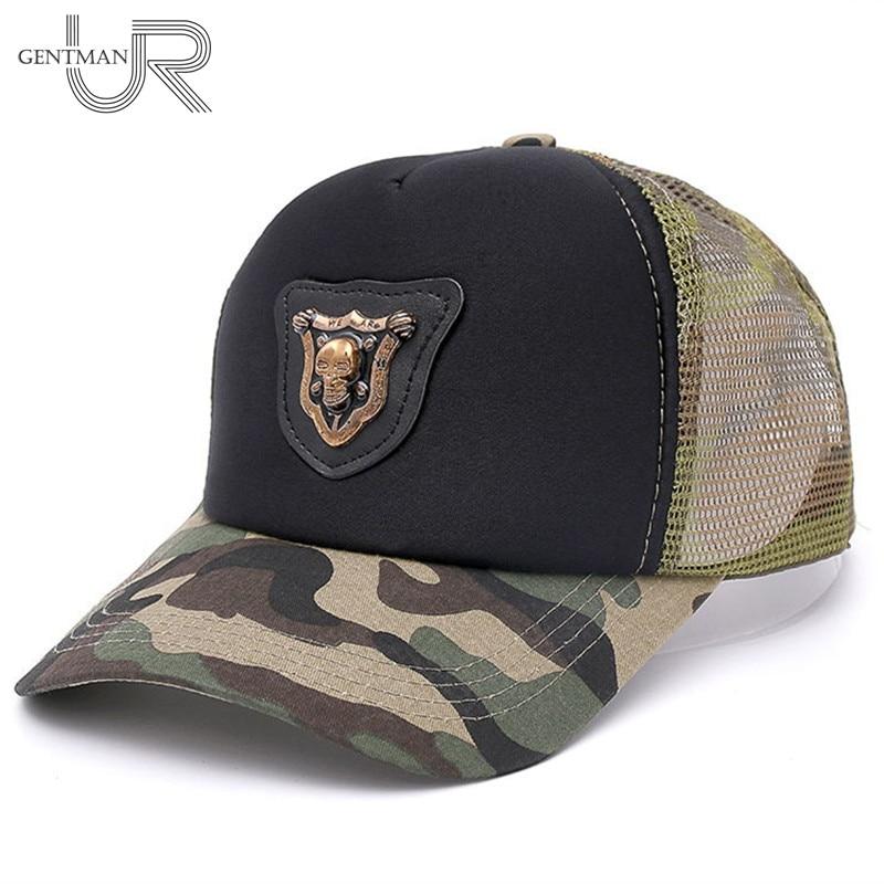 New Cool Camouflage Mesh   Baseball     Cap   Skull Metal Label Hat   Cap   Men And Woman Fashion   Cap