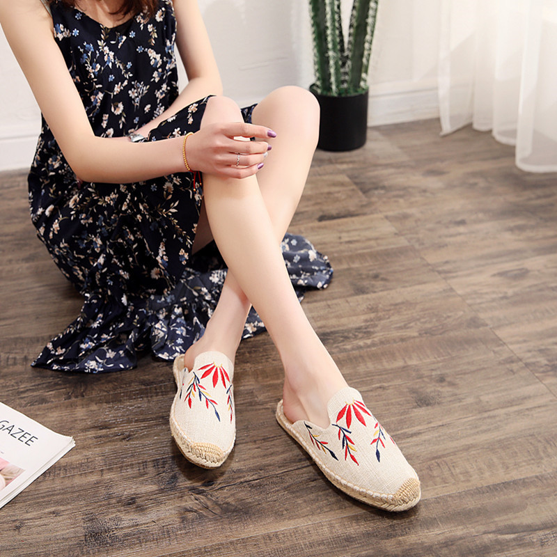 2019 Summer Women Half Slippers Embroidery Maple Leaf Cats Slide Flat Bottom Hemp Rope Weaving Fisherman Shoes Women Espadrilles (7)