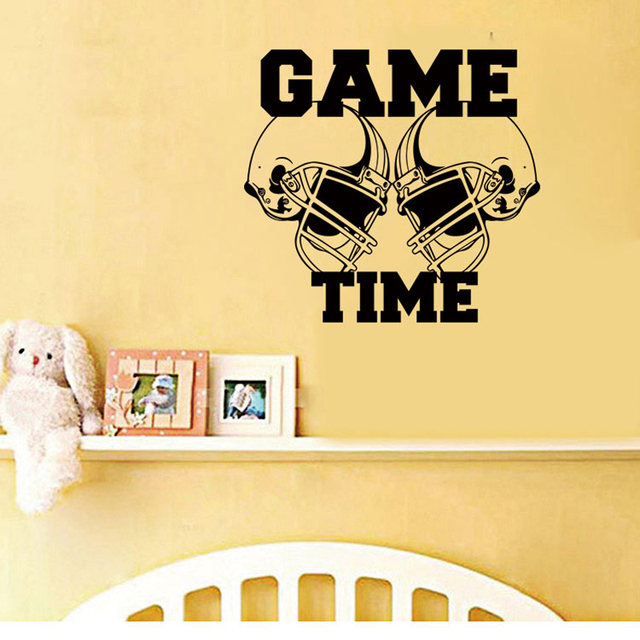 Game Time Rugby Hat Wall Stickers For Kids Rooms Decoration Cartoon Wall Decals Vinyl Art Mural