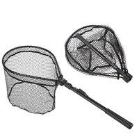 81cm Rubber Fly Fishing Landing Net Trout Large Mesh Fish Net Aluminum alloy Monofilament Hand Network Fishing Tools
