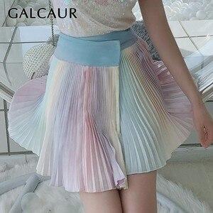 GALCAUR lato kolorowe Mini spódnica kobiety wysoka talia Slim Hit kolory krótkie plisowana spódnica, żeński, moda 2019 słodkie ubrania
