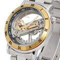 Homens mecânicos automáticos famosos dos homens tira de aço masculino impermeável homem Pulseira de Aço Inoxidável de Ouro relógios de luxo relogio masculino