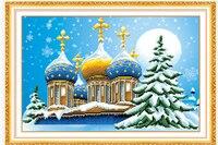 5d Diy Diamond Painting Christmas Tree Castle Mosaic Round Diamond Embroidery Needlework Cross Stitch Resin Diamond