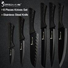 Кухонные ножи Sowoll из нержавеющей стали, набор из 6 предметов, острое Черное Лезвие ABS+ ручка TPR, нож для мяса, рыбы, фруктов, аксессуары для приготовления пищи