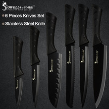 Sowoll Stainless Steel Kitchen Knives 6 Piece Set Sharp Black Blade ABS+TPR Handle Knife Meat Fish Fruit Cooking Accessories(China)