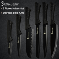 Sowoll Stainless Steel Kitchen Knives 6 Piece Set Sharp Black Blade ABS+TPR Handle Knife Meat Fish Fruit Cooking Accessories
