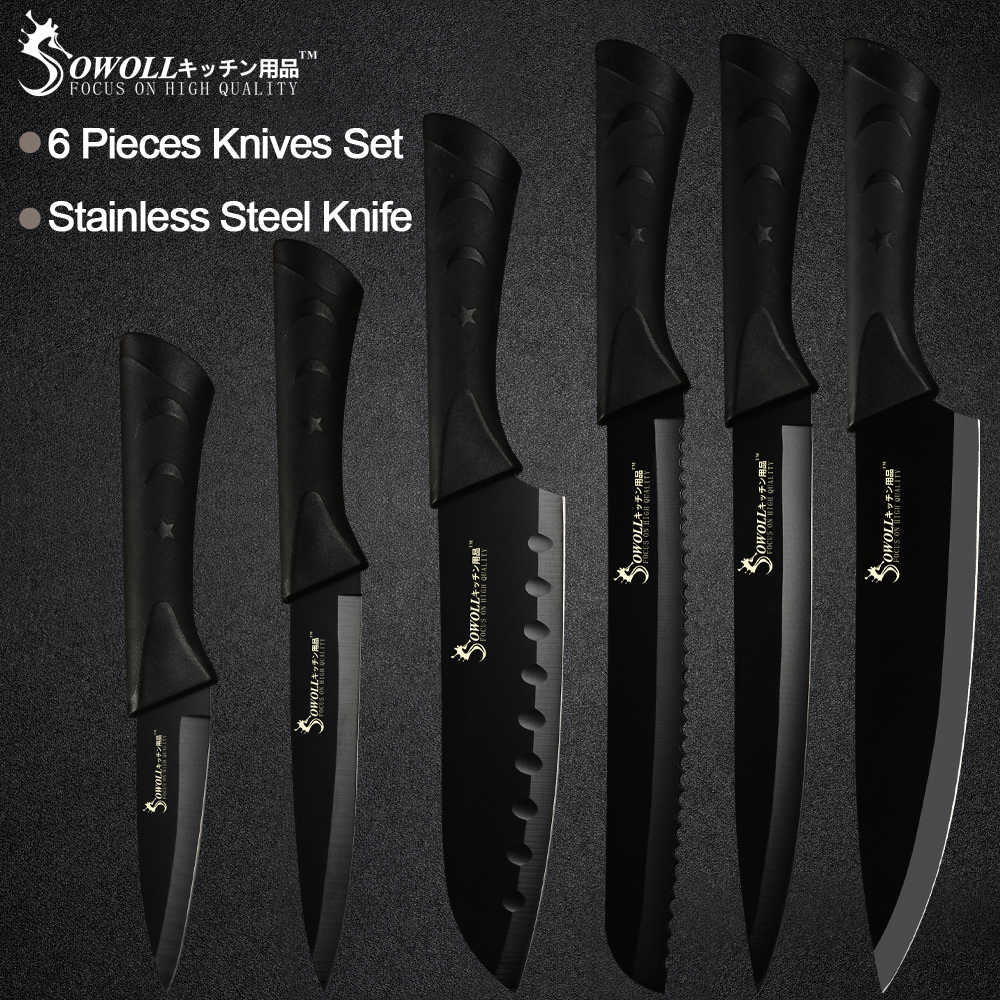 Sowoll noże kuchenne ze stali nierdzewnej 6 sztuka zestaw ostre czarne ostrze ABS + TPR uchwyt nóż mięso ryby owoce akcesoria do gotowania