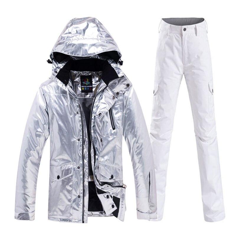 Brillant hommes et femmes neige Costume vêtements snowboard vêtements imperméable Costume sports de plein air hiver Ski veste + pantalon de neige - 2