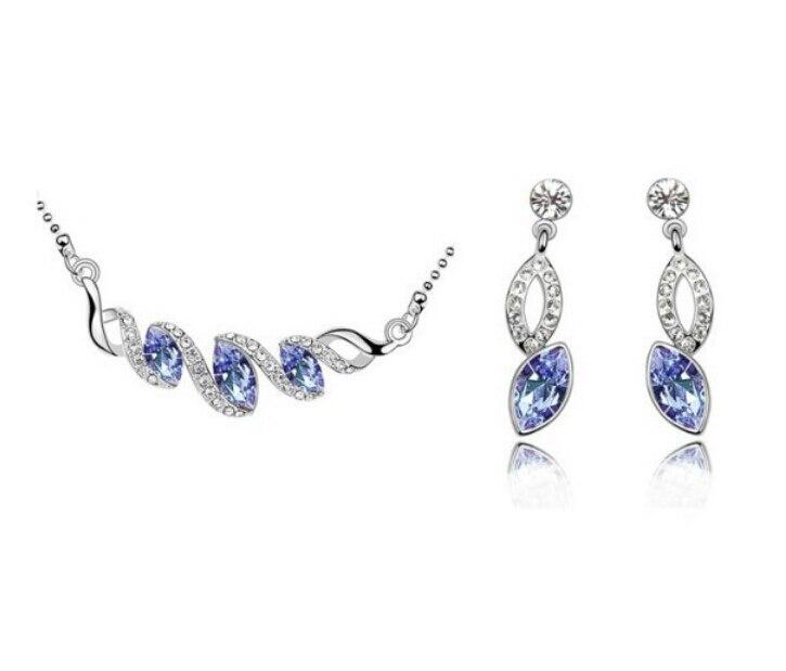 0c7a56b7ef4a Moda al por mayor OMH 18 kt oro blanco cristales austriacos Ojo de caballo  joyería 6 color a elegir collar + Pendientes tz206