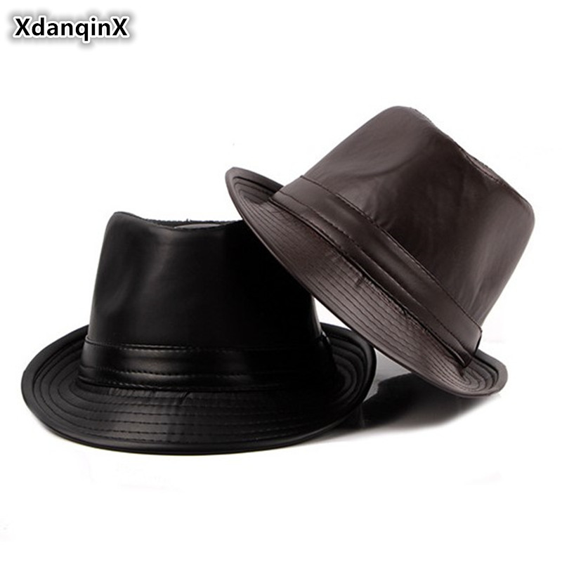 XdanqinX Autumn New Men's PU Leather Hat Simple Fashion Fedoras British Retro Jazz Hat For Young Men Classic Sun Visor Dad's Hat