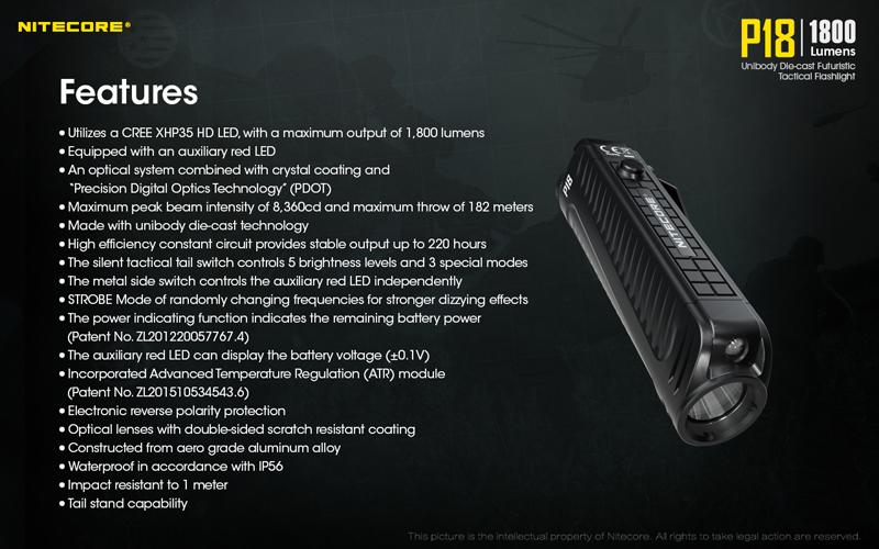 1800 Lumens Nitecore P18 Tactical Flashlight (20)