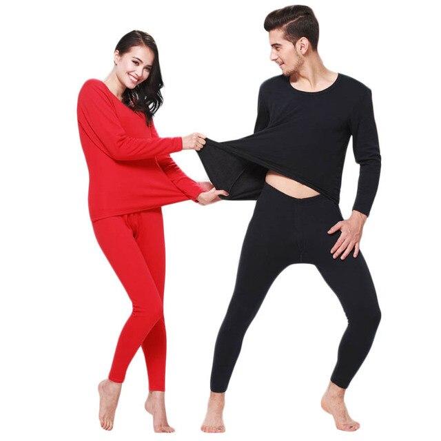 Бесплатная доставка высокое качество Осень и зима мужчины и женщины термобелье Плюс бархат теплое белье костюм Сплошной цвет 37yw