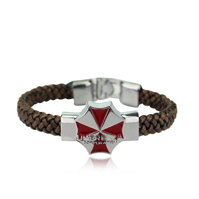 HEYu Resident Evil Bracelet Umbrella Corporation Pendant Enamel Logo Jewelry Bangles Leather Punk Wristband Cosplay Jewelry bracelet