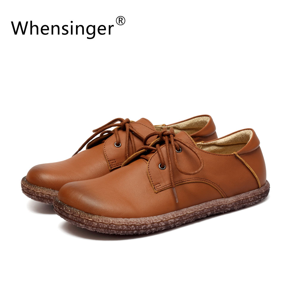 Whensinger - 2017 New Woman Casual Full Grain Leather Flats Shoes Spring Autumn Style T827