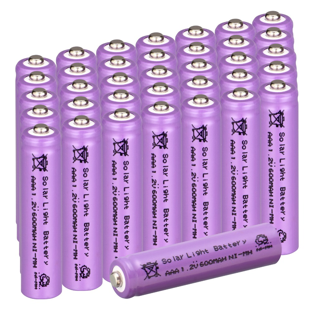 New 50 pcs AAA purple color solar battery Solar Light Battery Rechargeable battery 1.2V 600mAh For Garden Lights