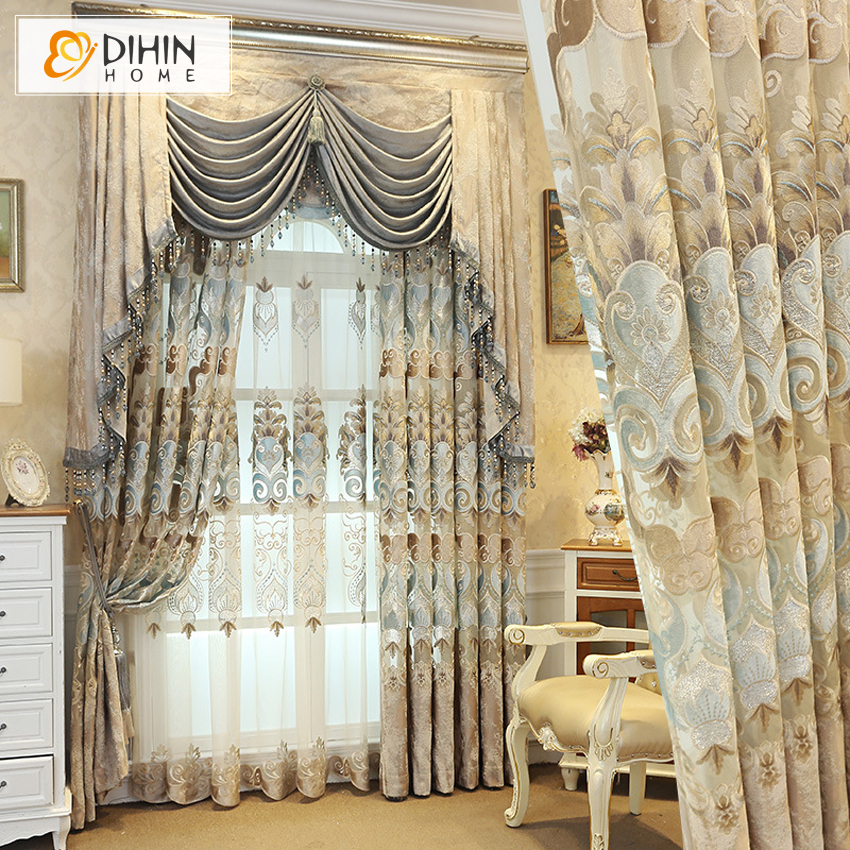 High Window Curtains: Customized Window Curtains Embroidered Blackout Curtain