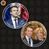 WR French President Emmanuel Macron Challenge Coin Silver Plated Metal Coin with Free Case for Collection
