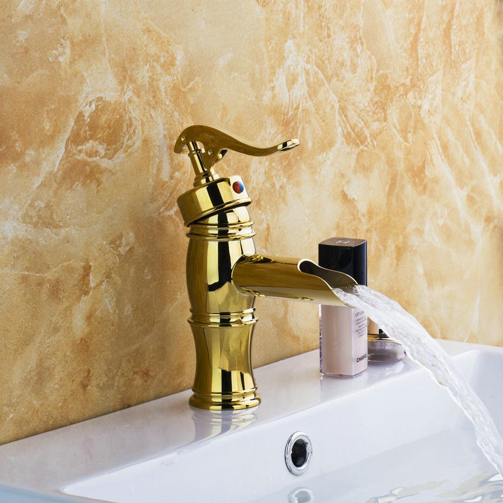 Golden Spoon Waterfall Faucets Basin New Bathroom Torneira Deck Mounted 9819 Single Handle Basin Sink Faucets,Mixers & Taps free shipping bathroom tall basin faucet torneira deck mounted single handle waterfall sink faucet mixers