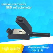 Gem Gemological Gemelogy Refractometer + RI Oil + 1.30 - 1.81 RI Range + 0.01 nD Scale Division with Built-in LED Light wholesales buil in led light refractometer zgra 100atc