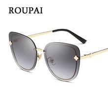 6f7794d7e21 ROUPAI 2018 Latest Luxury Women Sunglasses Brand Designer Metal Frame  Rimless Cateye Gozluk Pink Lens Vintage Woman Sun Glasses