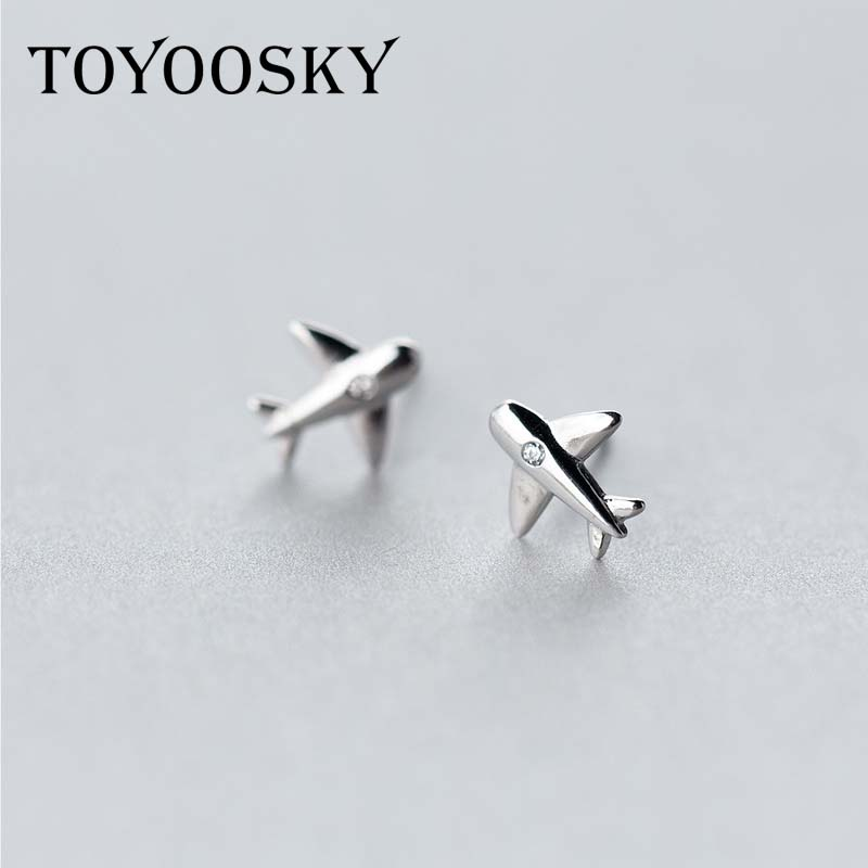 Real. 925 Sterling Silver Aircraft Airplane Plane Stud s