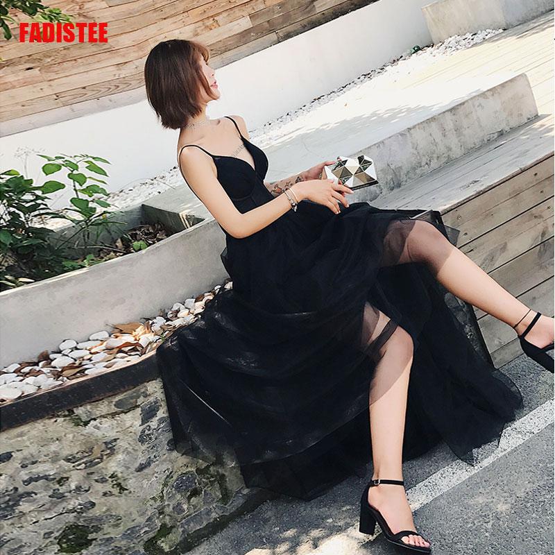 FADISTEE Black Dresses Soft Tulle Slim V-neck Long Style Dresses Women Elegant Vestido De Novia Tassel Prom Sexy V-neck 2019