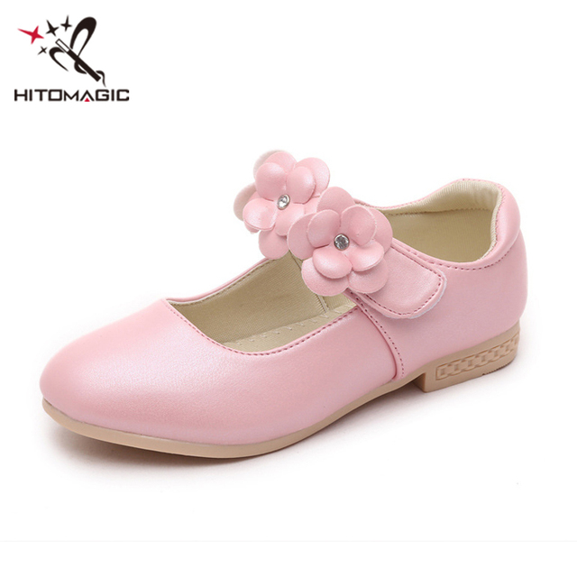 HITOMAGIC Children Shoes For Girls Leather Shoes Princess Kids Baby Toddler  Flower Spring For Autumn Party Wedding Gold Soft ec1a3a39e124