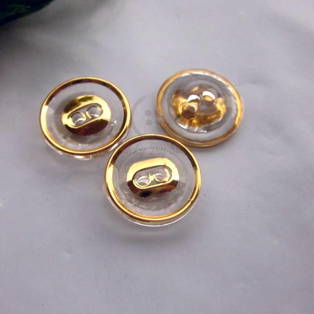 60 шт. 12,5 мм Золотой Край прозрачный кристалл рубашка пуговицы для пришивания diy ремесло украшения 2 отверстия акриловые Швейные материалы
