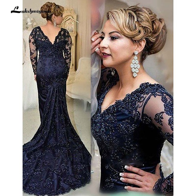 Navy Blue V-neck Long Sleeves Sweep Train Lace Mother of the Bride Dress Plus Size Mother Gowns