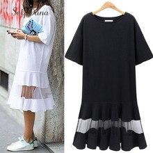 Self Duna 2017 summer Women Plus Size Dress 3XL 4XL XXXL XXXXL Shift Dress Loose Black White Mesh Short Sleeve T Shirt Dress