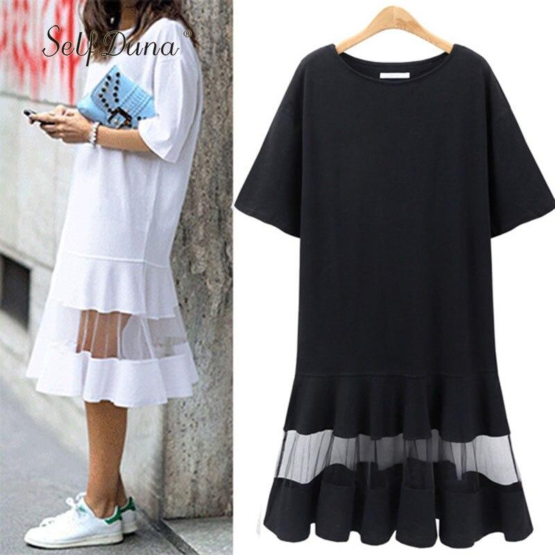 النفس دونا 2018 الصيف المرأة زائد حجم اللباس 3xl 4xl xxxl xxxxl تحول اللباس فضفاض أسود أبيض شبكة قصيرة الأكمام تي شيرت اللباس