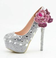 Crystal plus sizes silver pink wedding shoes woman HS114 luxury big small rhinestones silver diamond brides lady party shoe