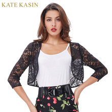 Kate Kasin Black White Bridal Wraps for Dress Three Quarter Sleeve Cropped Short Open Lace Jacket Wedding Party Accessories(China)