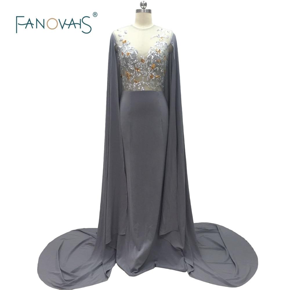 Mode robes de soirée grises longues avec Cape Scoop Tulle sirène broderie perlée robes de bal 2019 Robe de soirée GH10