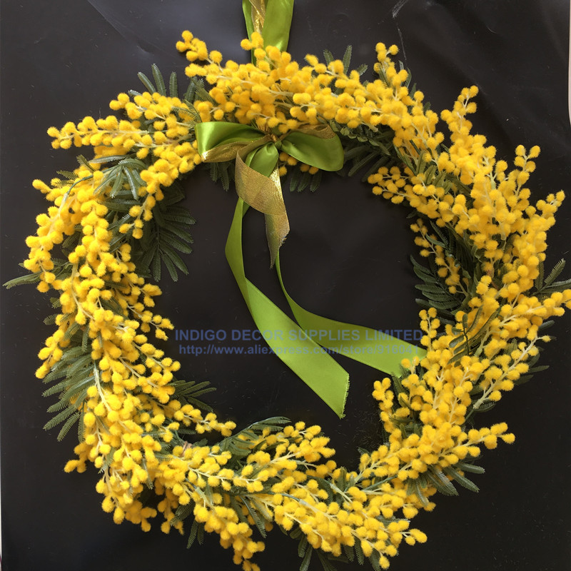 Aliexpress buy indigo exclusive sales diy yellow mimosa door aliexpress buy indigo exclusive sales diy yellow mimosa door hunging christmas wreaths flower string arrangement wedding party event free ship from mightylinksfo