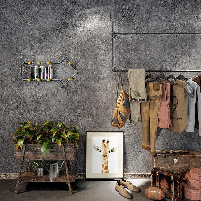 Retro Nostalgic Cement Gray PVC Exfoliator Waterproof Wallpaper Restaurant Clothing Store Wallpaper Living Room Papel De Parede