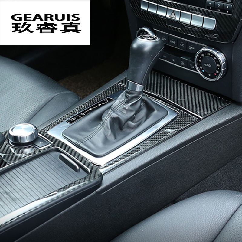 Car Interior Trim Carbon Mittelkonsole Navigation Panel Trim Dekoration Aufkleber Fit f/ür C-Klasse W204 2005-2012