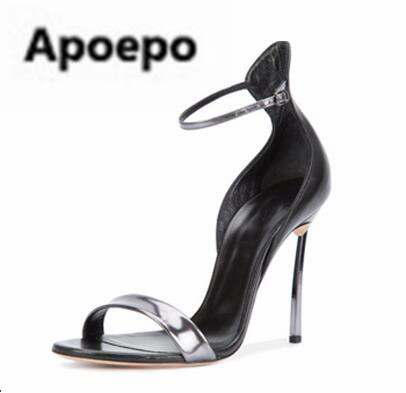 Apoepo sexy buckle sandals mixed colors thin heels high heels sandals mujer 10 cm heel metal decor party dress shoes stiletto womens fashion high heel strappy crossover barely there buckle party stiletto sandals shoes xd195