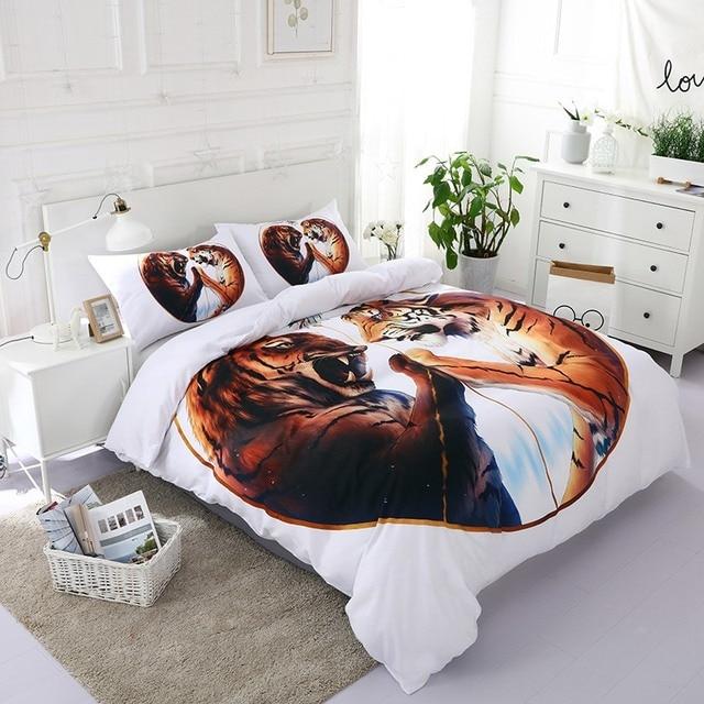 luxury tiger bedding set white modern bedding set double bohemian bed linen duvet cover pillowcase full - Modern Bedding Sets