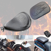 New Black Flame Design Driver Leather Solo Seat+ Pillion Pad 8 Suction Cup Passenger Seat Fits For Harley
