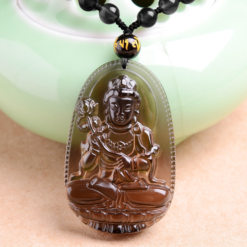 High Quality Natural Black Ice Obsidian Carved Buddha Lucky Amulet Pendant Necklace For Women Men pendants Fashion Jewelry