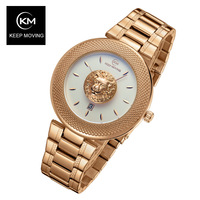 Lion head watch woman rose gold watch KEEP MOVING women top famous Brand Luxury Casual Quartz Watch relogio feminino