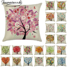 Fuwatacchi Linen Cushion Cover Dream Tree and Flowers Pillow for Home Sofa Chair Decorative Pillows 45*45cm
